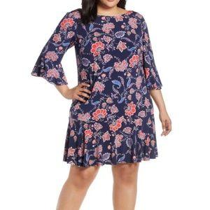 Eliza J | Navy Floral Bell Sleeve Sheath Dress NWT